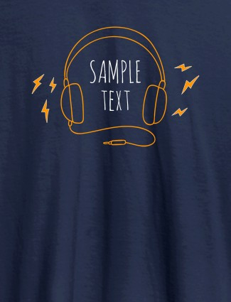 Personalised Fashion Mens Tshirt With Headphones Navy Blue Color