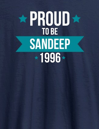 Proud To Be Name Year Printed Mens T Shirt Navy Blue Color