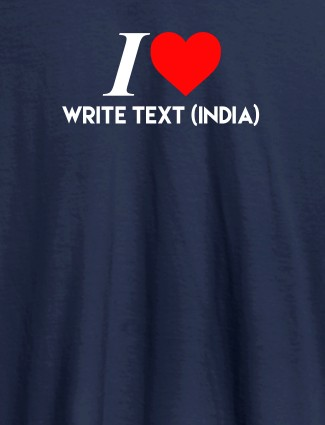 I Love With Name Personalized Printed Mens T Shirt Navy Blue Color