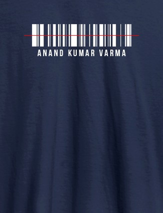 Barcode With Name Personalized Printed Mens T Shirt Navy Blue Color