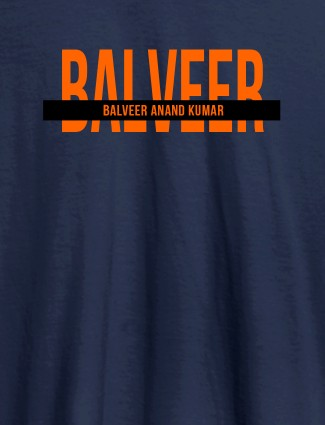 Personalized Mens T Shirt With Name Orange Color Navy Blue Color