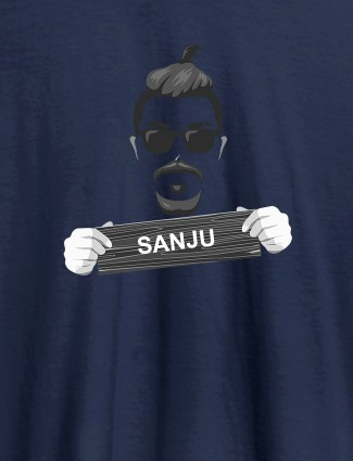 Funky Beard Moustache Sunglasses Personalised Mens T Shirt Navy Blue Color