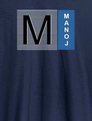 Personalised Mens T Shirt With Initial Name Navy Blue Color