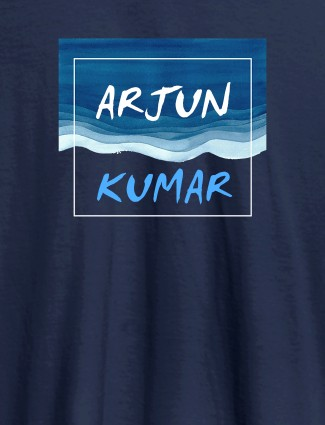 Watercolor Design With Name Personalised Mens T Shirt Navy Blue Color