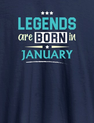 Kings Are Born In Month Personalised Printed Mens T Shirt Navy Blue Color