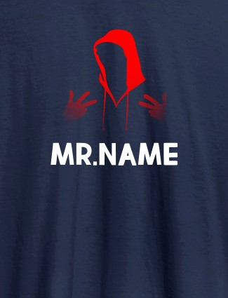 Add Your Own Text, Font - Custom T-Shirts for Men Navy Blue Color