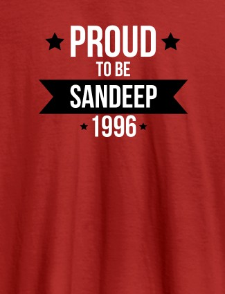 Proud To Be Name Year Printed Mens T Shirt Red Color