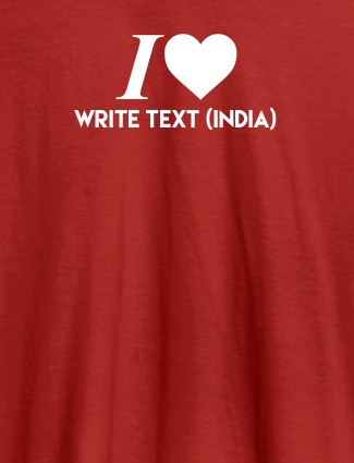 I Love With Name Personalized Printed Mens T Shirt Red Color