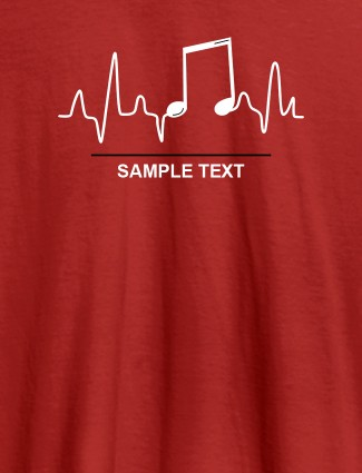 Musical Note Frequency Mens Personalised T Shirt Red Color