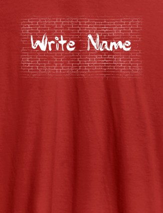 Graffiti Brick Wall T Shirt With Name Mens Wear Red Color