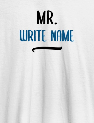 Write Your Name Custom T-Shirts for Men White Color