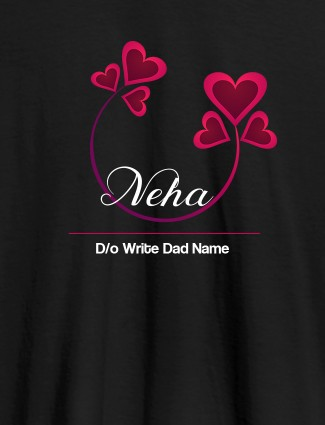 Personalised Womens T Shirt With Your Dad Name Black Color