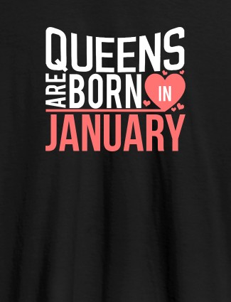 Queens Are Born In Personalised Womens T Shirt Black Color