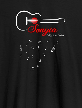 Personalised Womens T Shirt With Name Guitar Design Black Color