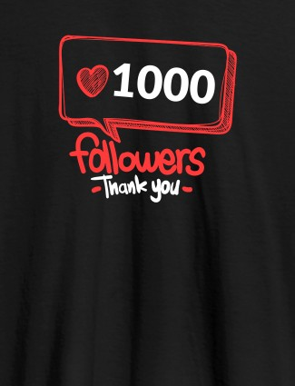 Followers Thank Personalised Printed Womens T Shirt Black Color
