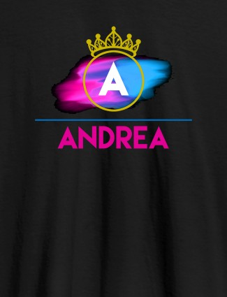 Personalised Womens T Shirt Initial On Crown Black Color