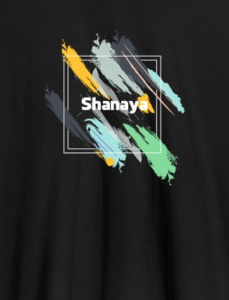 Personalised Womens T Shirt Name With Abstract Design Black Color