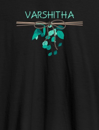 Personalised Womens T Shirt Name With Knot Design Black Color