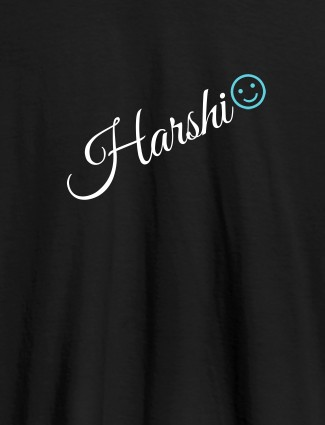 Personalised Women T Shirt With Name Emoji Black Color