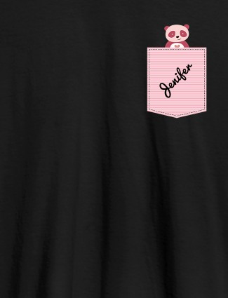 Personalised Womens T Shirt With Name Teddy Design Black Color