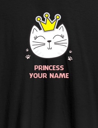 Princess Cat Personalised Womens T Shirt With Name Black Color