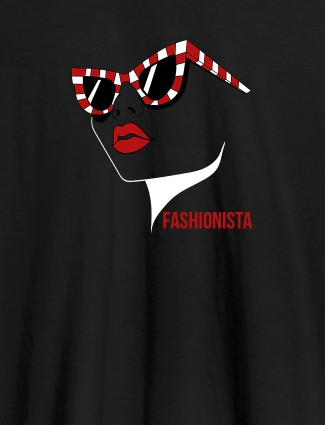 Fashionista Womens T Shirt Trendy Unique Design Black Color