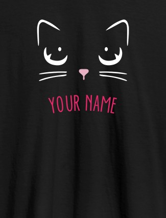 Cat Art Design Personalised Womens T Shirt With Name Black Color