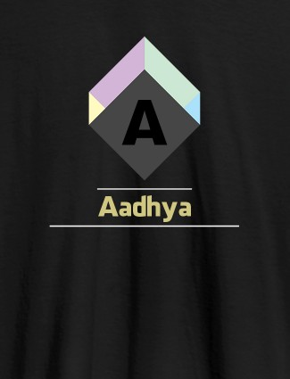 Personalised Womens T Shirt With Name Cubic Design Black Color