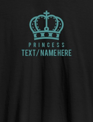 Princess with Your Name On Black Color Customized Women Tees
