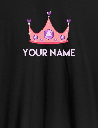 Write Your Name Custom T-Shirts for Women Black Color