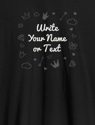 Multi Design with Your Name On Black Color Customized Womens T-Shirt