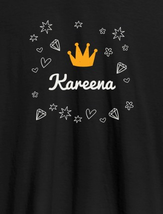 Crown Design with Your Name On Black Color Customized Tshirt for Women