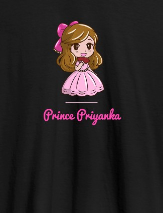 Cute Princess with Your Name On Black Color Personalized Women Tees