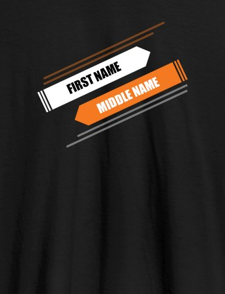 First Name and Last Name On Black Color Customized Tshirt for Women