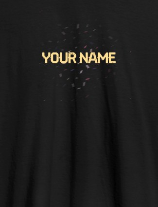 Blast Design with Your Name On Black Color Customized Womens T-Shirt