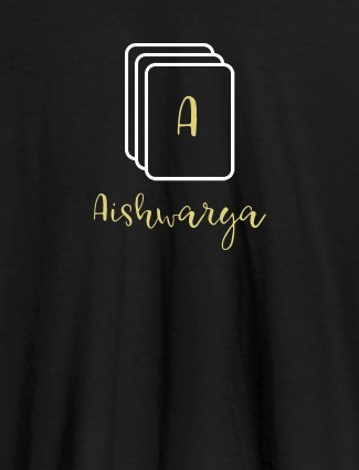 Playing Cards with Initial and Name On Black Color Personalized Women Tees