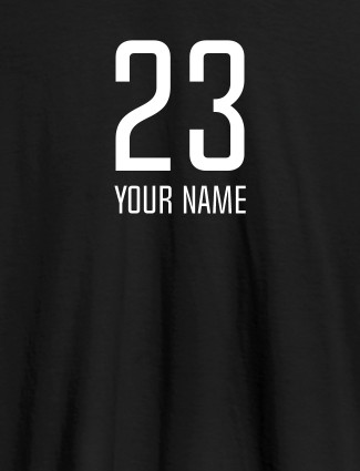 Number and Name On Black Color Personalized T-Shirt for Women