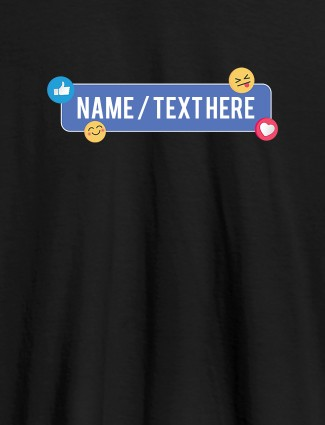 Your Name with Emojis On Black Color Customized Womens T-Shirt