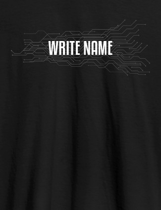 Circuit Theme with Name On Black Color Customized Women Tees