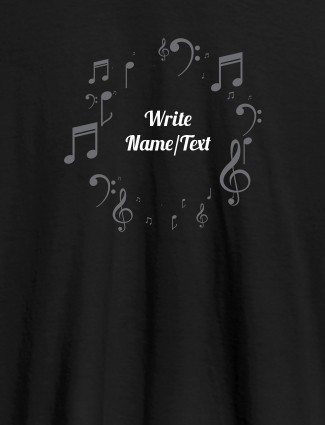 Musical Symbols with Your Name On Black Color T-shirts For Women with Name, Text and Photo