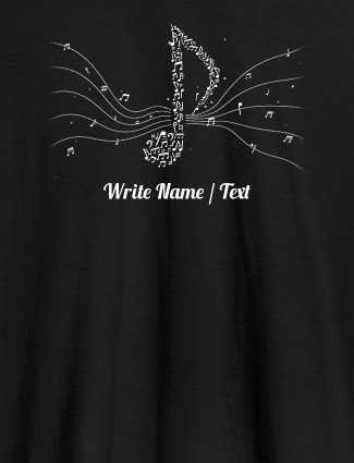 Musical Theme with Your Name On Black Color Customized Women Tees