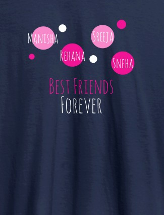 Best Friends Forever Personalised Womens T Shirt Navy Blue Color