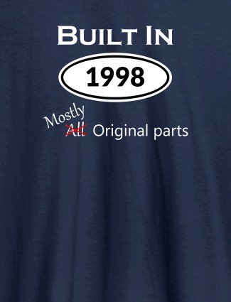 Built In Year Mostly Original Personalised Womens T Shirt Navy Blue Color