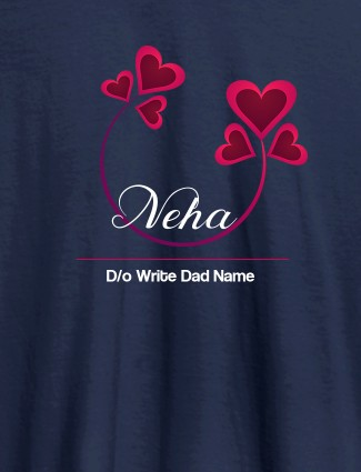 Personalised Womens T Shirt With Your Dad Name Navy Blue Color