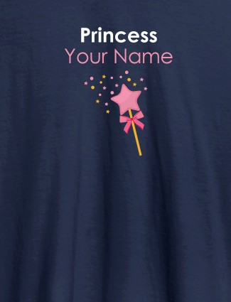 Princess Your Name Personalised Girl T Shirt Navy Blue Color