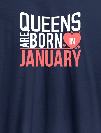 Queens Are Born In Personalised Womens T Shirt Navy Blue Color