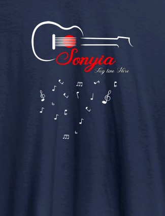 Personalised Womens T Shirt With Name Guitar Design Navy Blue Color