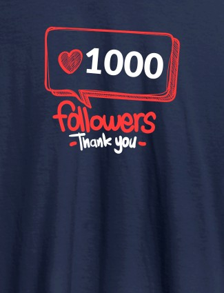 Followers Thank Personalised Printed Womens T Shirt Navy Blue Color