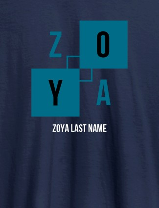 Personalised Womens T Shirt With Last Name Navy Blue Color