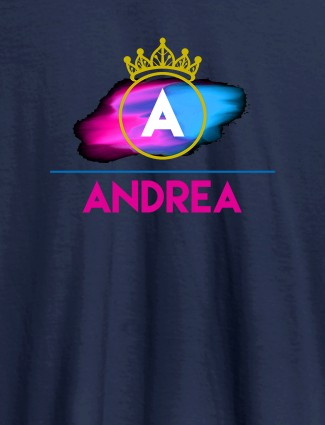 Personalised Womens T Shirt Initial On Crown Navy Blue Color